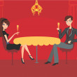 Young couple flirt and drink champagne in restaurant — Stock Vector #44261671