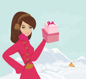 Winter girl with gift box  — Stock Vector