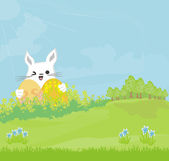 Illustration of happy Easter bunny carrying egg on rural landsca — Stock Vector
