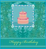 Feliz cumpleaños con tarjeta de pastel de cumpleaños — Vector de stock