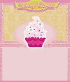 Pink and white cupcake card — Stock Vector