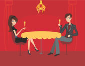 Young couple flirt and drink champagne in restaurant — Stock Vector