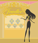 Girl silhouette and jewellerys  — Stock Vector