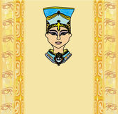 Grunge frame with Egyptian queen  — Stock Vector