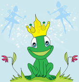 Little fairies and frog — Stock Vector