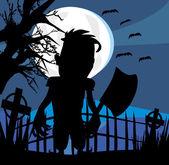 Crazy man with an ax on a dark night — Stockvektor