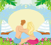 Couple on tropical vacation, abstract frame — Cтоковый вектор