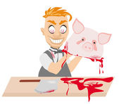 Crazy insane butcher covered with blood — Stock Vector