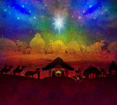 Biblical scene - birth of Jesus in Bethlehem.  — 图库照片