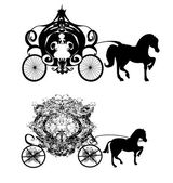 Vintage carriage - two vector icons — Stock Vector