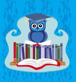 Owl sitting on books — Stock Vector