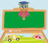 Cute back to school illustration with owl — Stock Vector