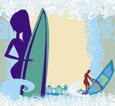 Ilustración files marco abstracto surf playa — Vector de stock