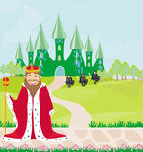 笑みを浮かべて王は城を見てください。 — ストックベクタ
