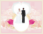 Wedding invitation card with a cute couple  — Stock Vector