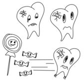 Hand drawn funny teeth, vector icons set — Stock Vector