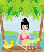 Beautiful young woman at the summer lounge enjoying her fresh co — Stock Vector