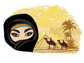 Arabian woman in the desert — Stock Vector