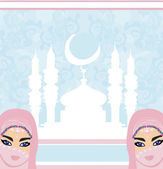 Beautiful muslim women on mosque background.  — Stock Vector