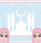 Belles femmes musulmanes sur fond de mosquée. — Vecteur