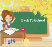 Pupil knows the answer and puts her hand up - back to school car — Vector de stock