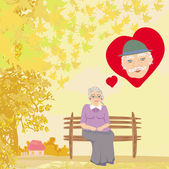 The old lady thinks about the man she loves — Stock Vector