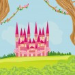 Beautiful fairytale pink castle — Stock Vector