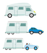 Camper and trailer set,  isolated — Stock Vector