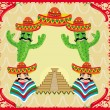 Vector mexican frame with pyramid, cactus and sombrero — Stock Vector
