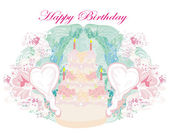 Happy Birthday - abstract floral greeting card  — Stock Vector
