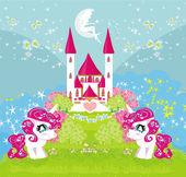 卡有可爱的独角兽和魔法城堡 — 图库矢量图片