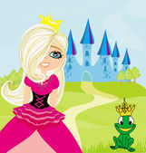 Princess and the Frog in the crown — Stock Vector