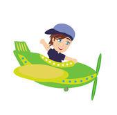 Kleine jongen die een vliegtuig — Stockvector