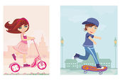 Happy boy on a skateboard and girl on scooter — Stock Vector