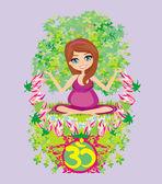 Schwangeres mädchen sitzt und meditiert, abstrakt karte — Stockvektor