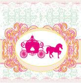 Carriage- vintage floral wedding invitation  — Stock Vector