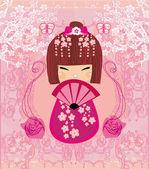 Personaje de dibujos animados de muñecas kokeshi, hermosa tarjeta abstracta — Vector de stock