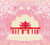 Abstract card with Asian buildings , vintage frame  — Vector de stock