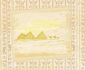 Camel caravan in wild africa - abstract grunge texture — Stock Vector