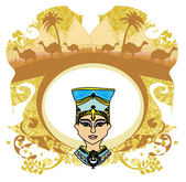 Vintage frame with Egyptian queen — Stock Vector
