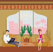 Couple relaxing at home  — Stock Vector