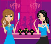 Girls at a jewelry store  — Vector de stock