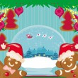 Christmas card with a ginger-bread and Santa Claus flying over c — Stock Vector #47708059