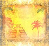 Mayan Pyramid, Chichen-Itza, Mexico - grunge abstract background — Stock Photo