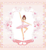 Beautiful ballerina - abstract card with pink ornaments  — Stock Vector