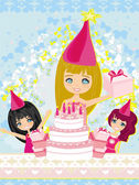 Kids celebrating a birthday party  — Vector de stock