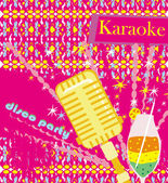 Banner with microphone - karaoke party design  — Stock Vector