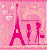 Shopping In Paris, Beautiful pink abstract card — Vetorial Stock