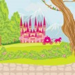 Beautiful fairytale pink castle  — Stock Vector #48778735