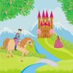 Prince riding a horse to the princess — Stock Vector #48778795